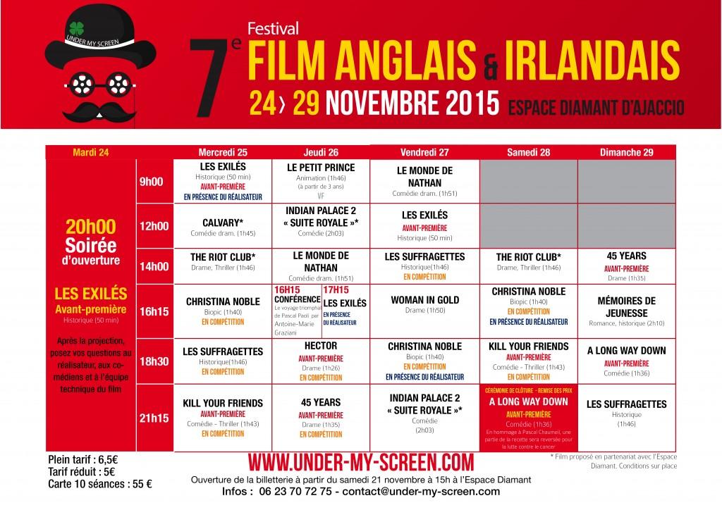 Grille de projection festival film anglais et irlandais d'ajaccio