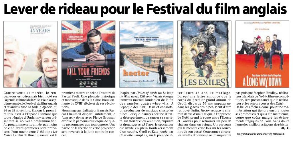 Article Corse Matin sur le 7e festival du film anglais et irlandais d'AJaccio